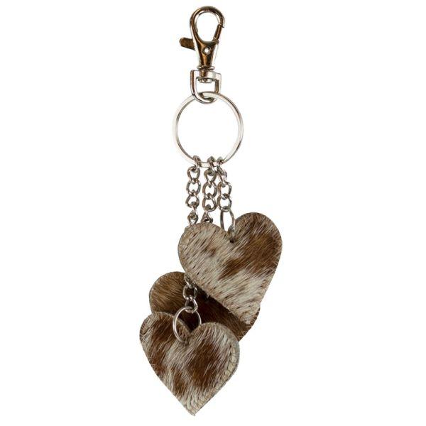 Schlüsselanhänger drei Herzen Kuhfell braun
