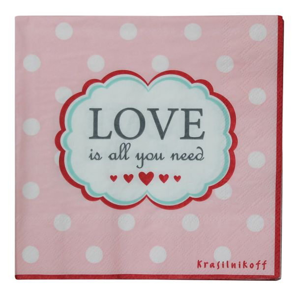 Papier-Serviette rosa Love is all you need
