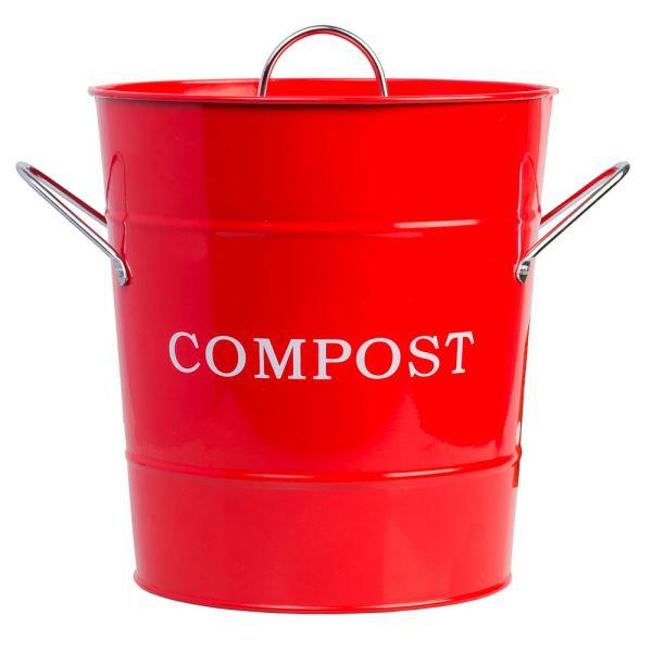 Abfallbehälter mit Deckel rot Metall