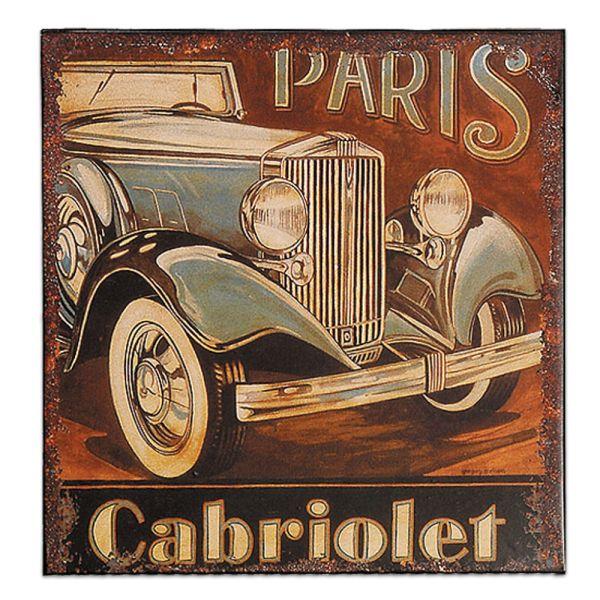 Metallschild Dekoschild Cabriolet