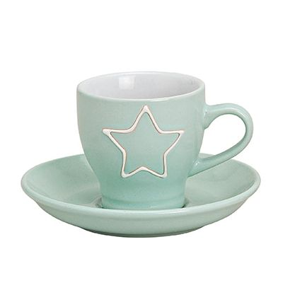 Espressotasse mit Unterteller Stern hellgrün