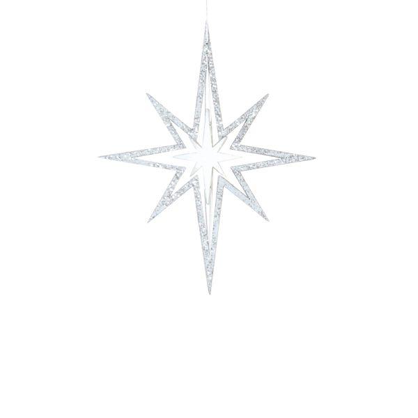 3D-Glitzer-Weihnachtsstern weiss silber
