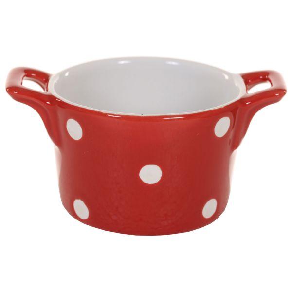 Auflaufform Souffleform rot Porzellan weisse Punkte