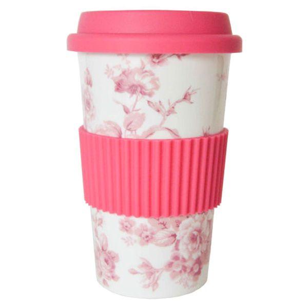Thermobecher Reisebecher Porzellan weiss Blumenmotiv rosa