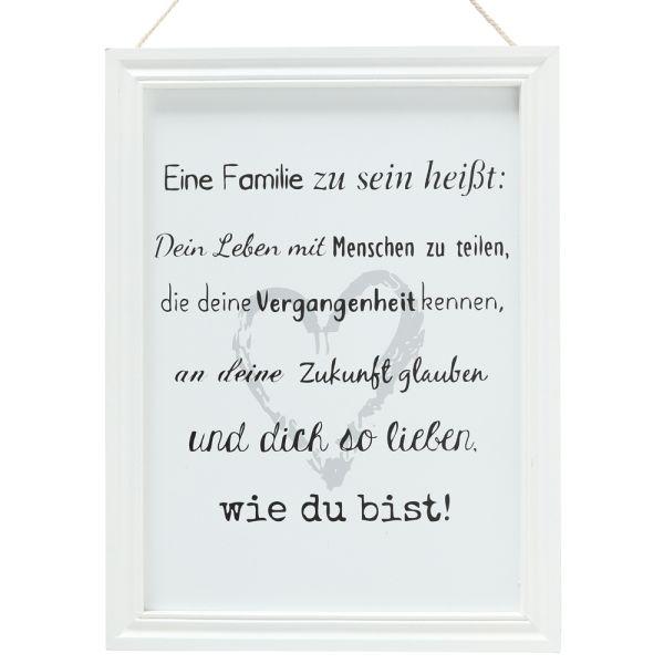 Dekobild Familie - Holz weiss - Landhaus