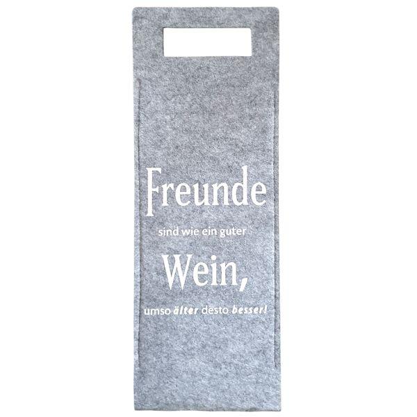 Geschenktüte Wein - Filz grau - Freunde