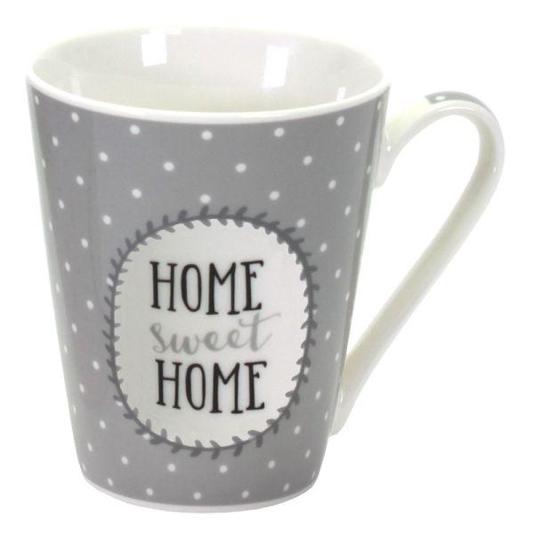 Becher Porzellan Home Sweet Home grau