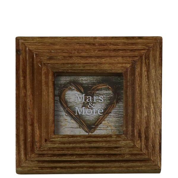 Bilderrahmen Relief - Mangoholz braun - 10 x 10 cm