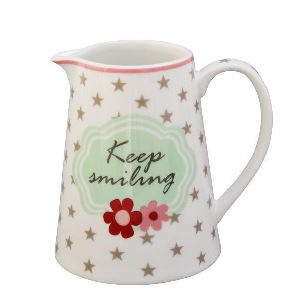 Milchkännchen weiss Porzellan Keep smiling