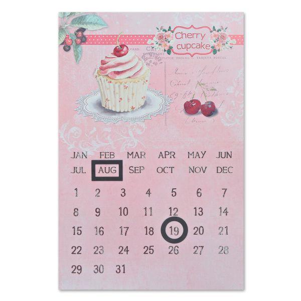 Dauerkalender Metallschild Cupcake rosa