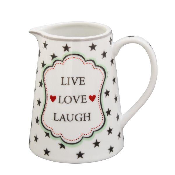 Milchkännchen weiss Porzellan Live Love Laugh
