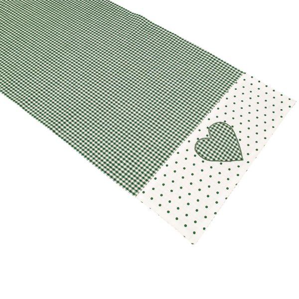 Tischläufer aus Baumwolle - Landhausstil - grün-weiss kariert
