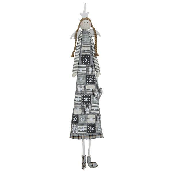 Textil-Adventskalender Engel grau