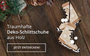 Holz-Anhänger Deko-Schlittschuh