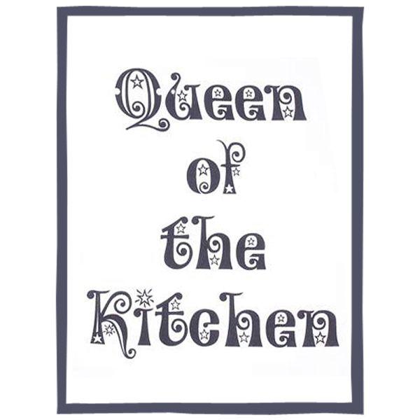 Geschirrtuch Baumwolle schwarz-weiss - Queen of the Kitchen
