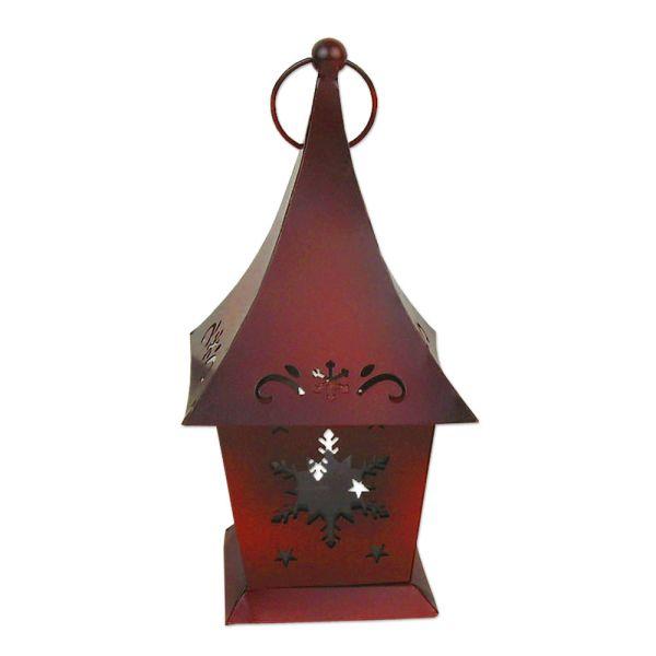 Laterne Schneeflocke Weihnachten - rot